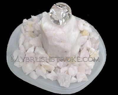 White Frosted Bowl Lighted Rose Quartz Gemstone Water Fall - Fountain with Rolling Ball