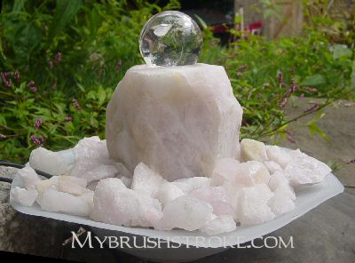 Lighted Rose Quartz Gemstone Water Fall - Fountain with Rolling Ball
