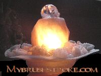 Lighted Illuminated Rose Quartz Gemstone Water Fall - Fountain with Rolling Ball